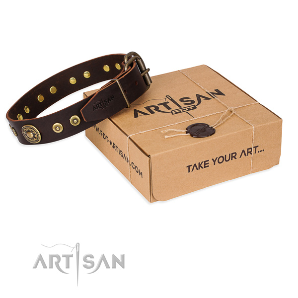 Genuine leather dog collar made of high quality material with durable buckle