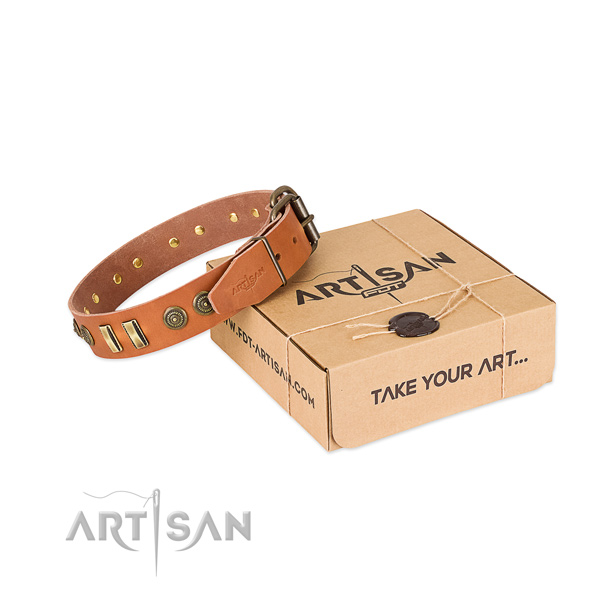 Corrosion resistant D-ring on full grain natural leather dog collar for your four-legged friend