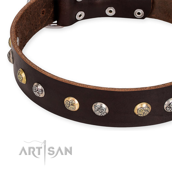 Full grain natural leather dog collar with inimitable rust-proof decorations