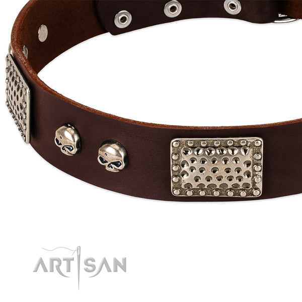 Rust-proof hardware on leather dog collar for your pet