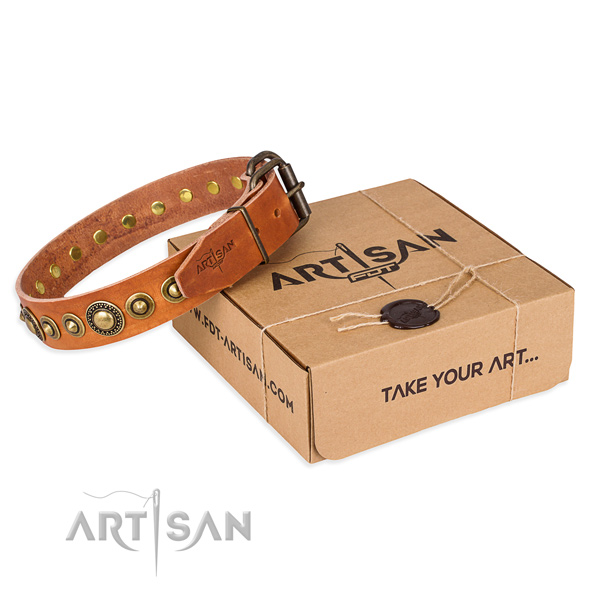 Reliable natural genuine leather dog collar crafted for daily use