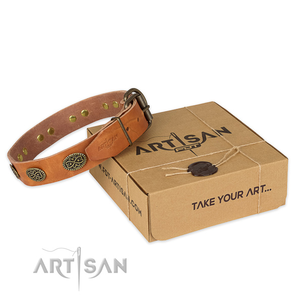 Reliable hardware on natural genuine leather collar for your impressive doggie
