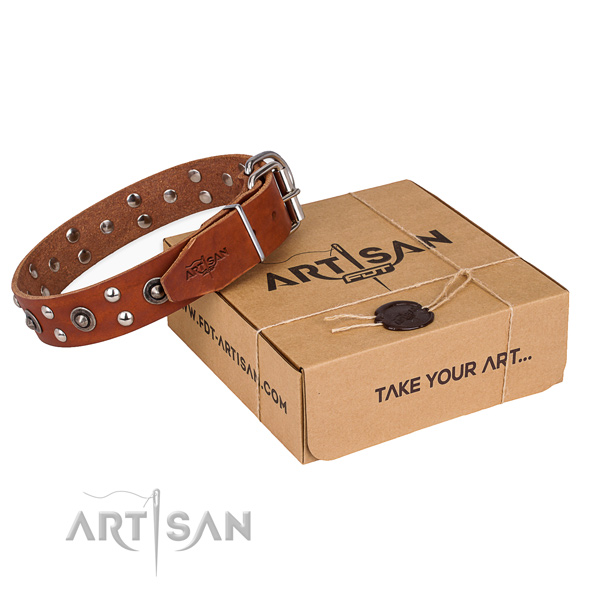 Rust-proof fittings on full grain genuine leather collar for your impressive pet