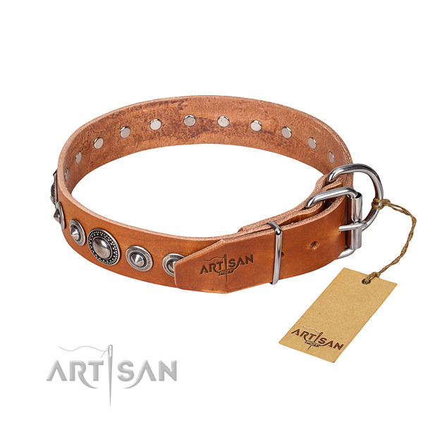 Full grain genuine leather dog collar made of reliable material with reliable embellishments