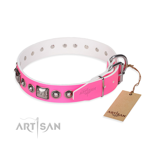Soft to touch leather dog collar handcrafted for stylish walking