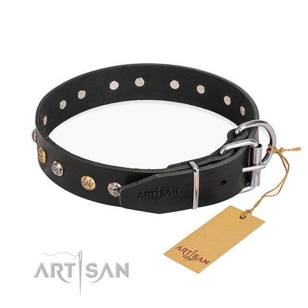 Top notch leather dog collar handcrafted for walking