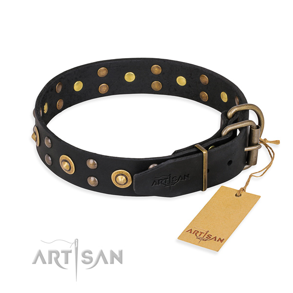 Corrosion resistant fittings on leather collar for your stylish four-legged friend