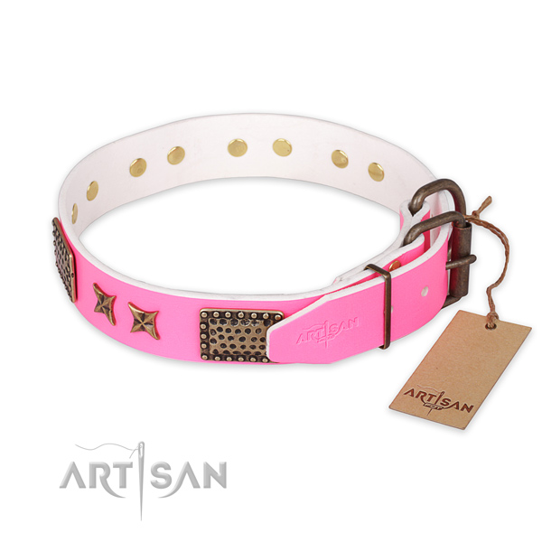 Rust resistant buckle on leather collar for your stylish canine
