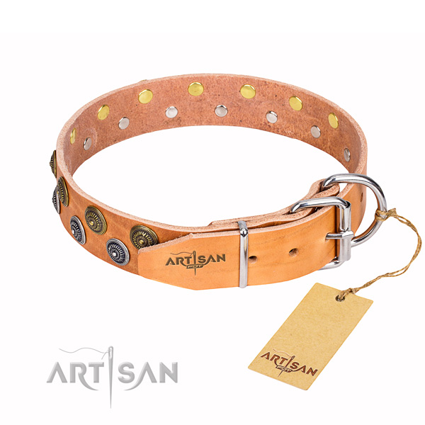 Easy wearing decorated dog collar of high quality natural leather