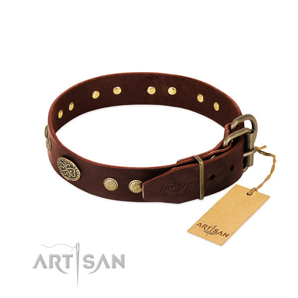 Rust-proof embellishments on full grain genuine leather dog collar for your four-legged friend