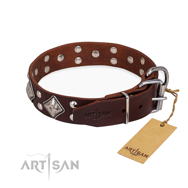 Full grain natural leather dog collar with impressive strong adornments