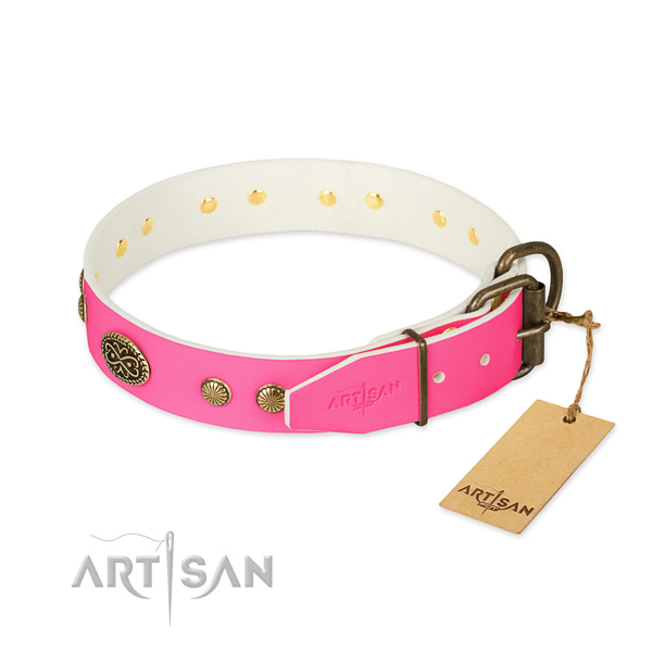 Corrosion resistant hardware on full grain genuine leather dog collar for your dog