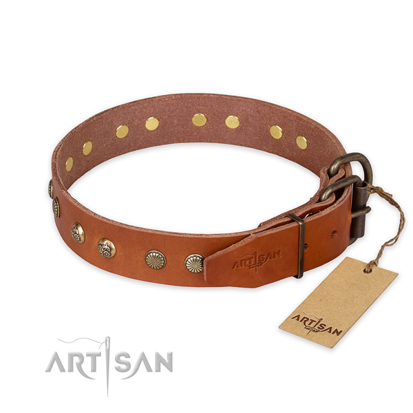 Durable D-ring on natural genuine leather collar for your handsome doggie