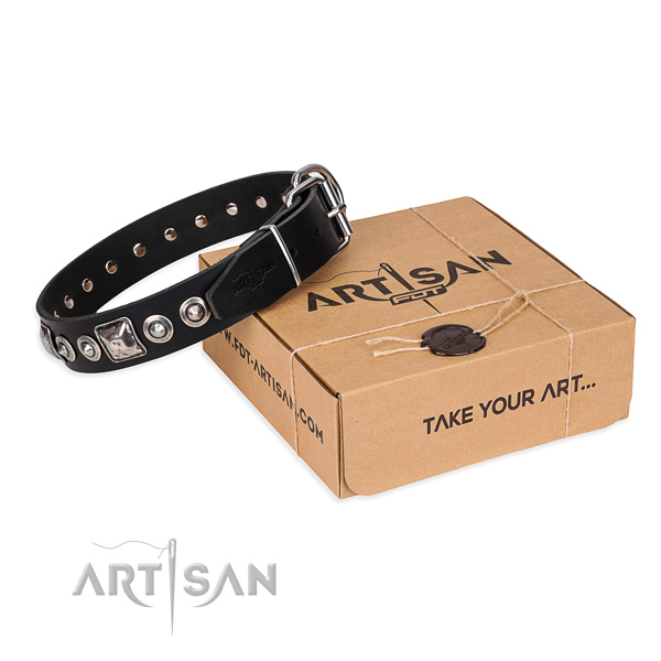 Leather dog collar made of high quality material with durable D-ring
