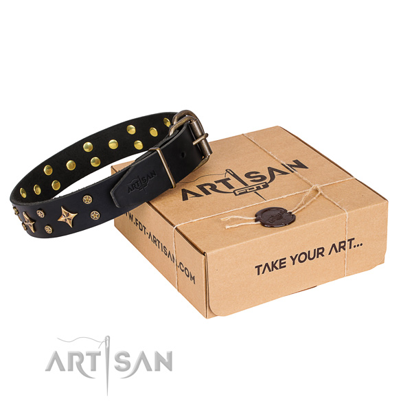 Handy use dog collar of finest quality genuine leather with studs