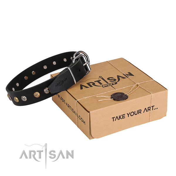 Durable genuine leather dog collar crafted for easy wearing