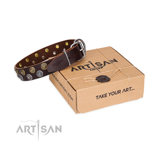 Basic training dog collar of high quality full grain leather with decorations