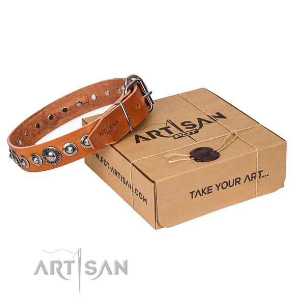 Natural genuine leather dog collar made of gentle to touch material with rust resistant fittings