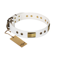"""Precious Necklace"" FDT Artisan White Leather Mastiff Collar with Old Bronze Look Plates and Studs"