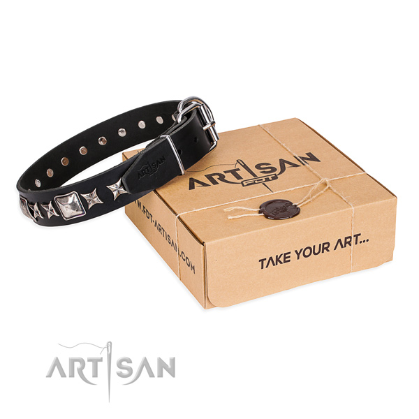 Comfortable wearing dog collar of finest quality full grain leather with studs
