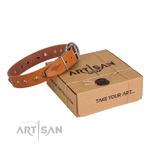 Soft leather dog collar created for comfy wearing