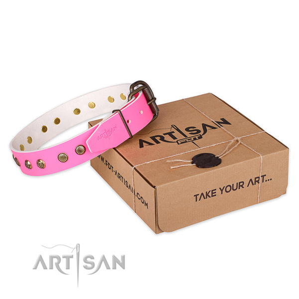 Corrosion resistant buckle on natural genuine leather collar for your attractive canine