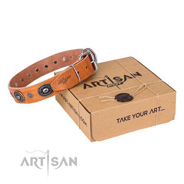 Best quality full grain leather dog collar handmade for comfy wearing
