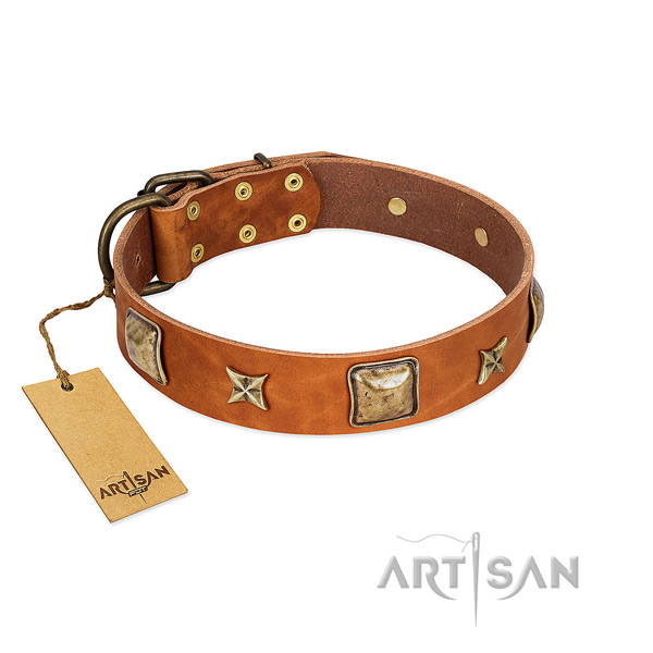 Amazing natural genuine leather collar for your pet