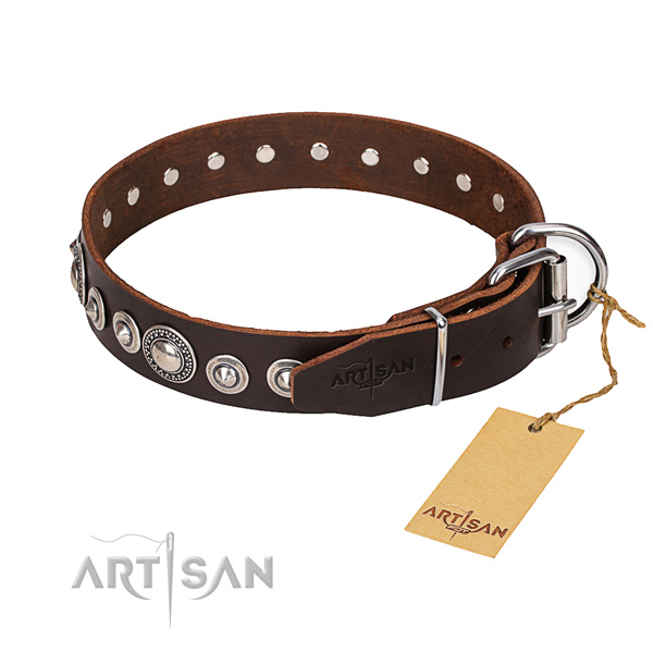 Full grain natural leather dog collar made of best quality material with durable traditional buckle