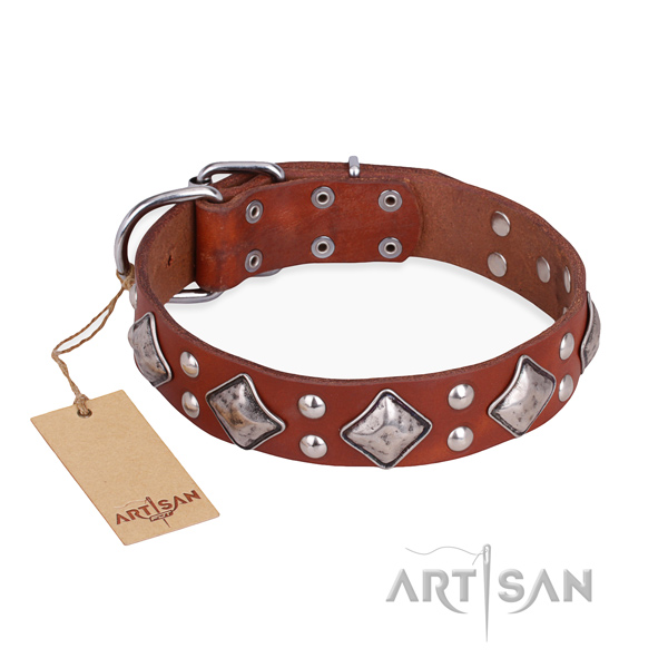 Comfortable wearing designer dog collar with corrosion proof traditional buckle
