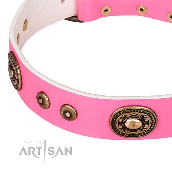 Decorated dog collar made of top rate full grain genuine leather