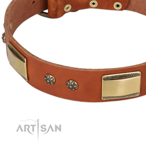 Rust-proof D-ring on natural genuine leather dog collar for your four-legged friend