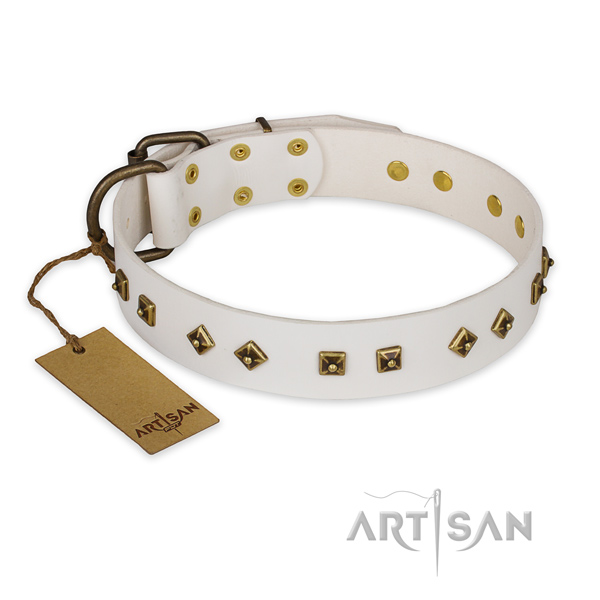 Easy to adjust genuine leather dog collar with corrosion proof hardware