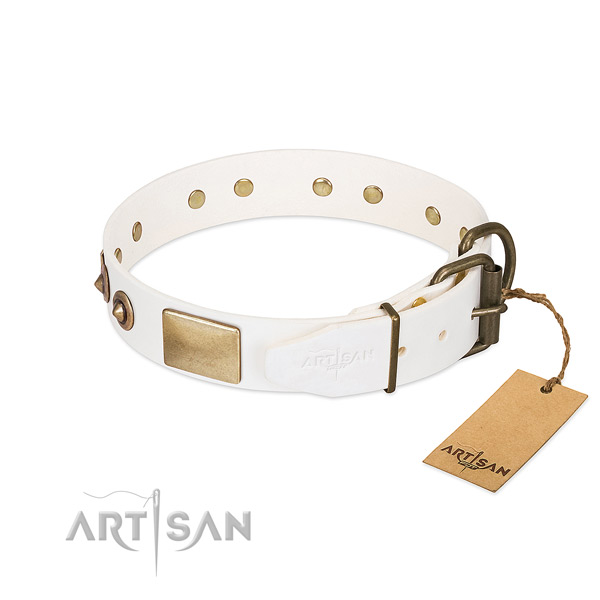Rust-proof D-ring on natural genuine leather dog collar for your dog