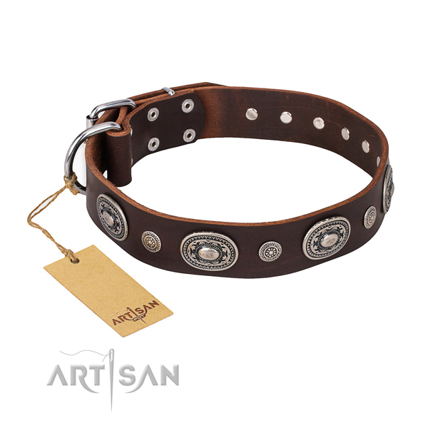 Soft to touch full grain leather collar created for your doggie