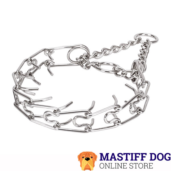 Dog pinch collar of reliable stainless steel for large breeds