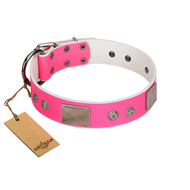 """Pink Blush"" Premium Quality FDT Artisan Pink Designer Mastiff Collar with Plates and Studs"