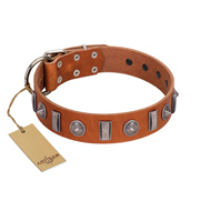 """Luxurious Necklace"" FDT Artisan Tan Leather Mastiff Collar with Silver-Like Adornments"