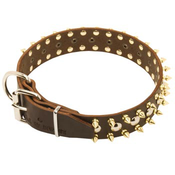 Leather Mastiff Collar with Rust-proof Decoration