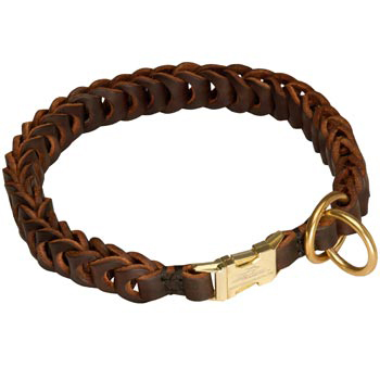 Mastiff Leather Collar Braided Design