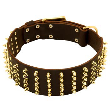 Fashionable Spiked Leather Mastiff Collar