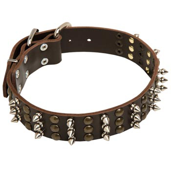 Mastiff Handmade Leather Collar 3  Studs and Spikes Rows