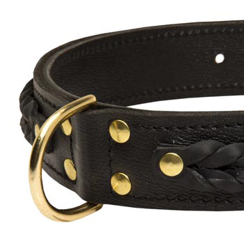 Mastiff Wide Leather Collar with D-ring