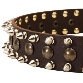 Mastiff Leather Collar with Hand Set Spikes  And Studs