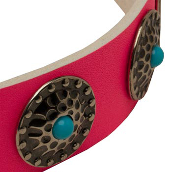 Pink Mastiff Collar Leather with Blue Stones