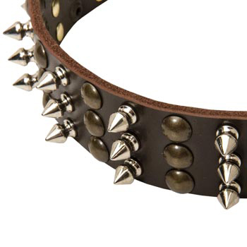 3 Rows of Spikes and Studs Decorative Mastiff  Leather Collar