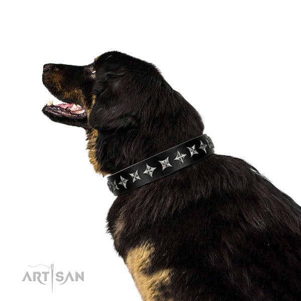 Handy use decorated dog collar of strong genuine leather
