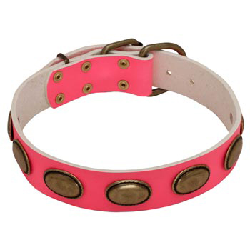 Pink Leather Mastiff Collar for Female Dogs