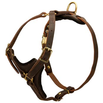 Mastiff Harness Y-Shaped Brown Leather Easy Adjustable for Best Fit