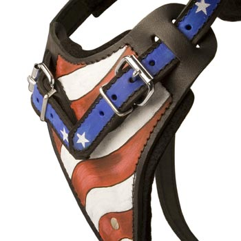 Mastiff Leather Harness With Hand Painted USA  Chest Plate